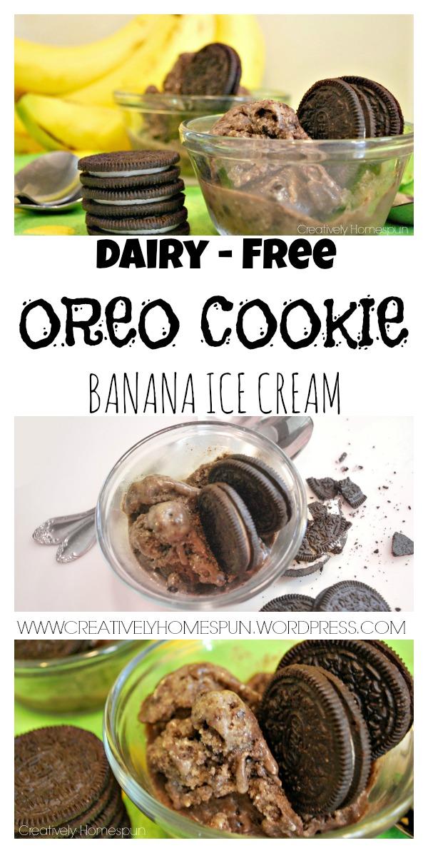 Dairy-free Oreo Cookie Banana Ice Cream Http://www.creativelyhomespun.wordpress.com