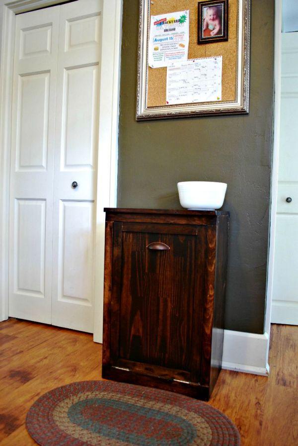 DIY Wooden Waste Basket Cabinet || Creatively Homespun #TheKendigsNewDigs #diy #kitchenreno #oldhousetonewhome