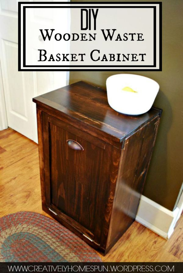 DIY Wooden Waste Basket Cabinet Cabinet Creatively Homespun #TheKendigsNewDigs #diy #kitchenreno #oldhousetonewhome