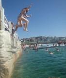 jumping into sea bronte beach