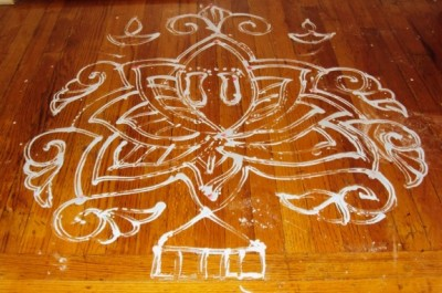 Aripan (Floor painting) of Lotus in Mithila