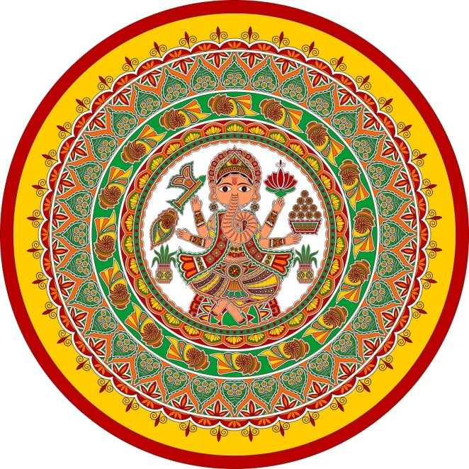 Ganesh in the design for decoration of Daala in Mithila Painting
