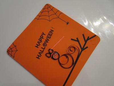 Un joli modèle de carte en quilling (papier roulé) pour Halloween