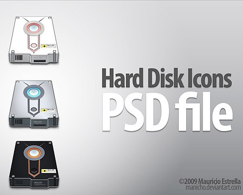 harddiskpsdicon 50 Free 3D High Quality PSD File Icons