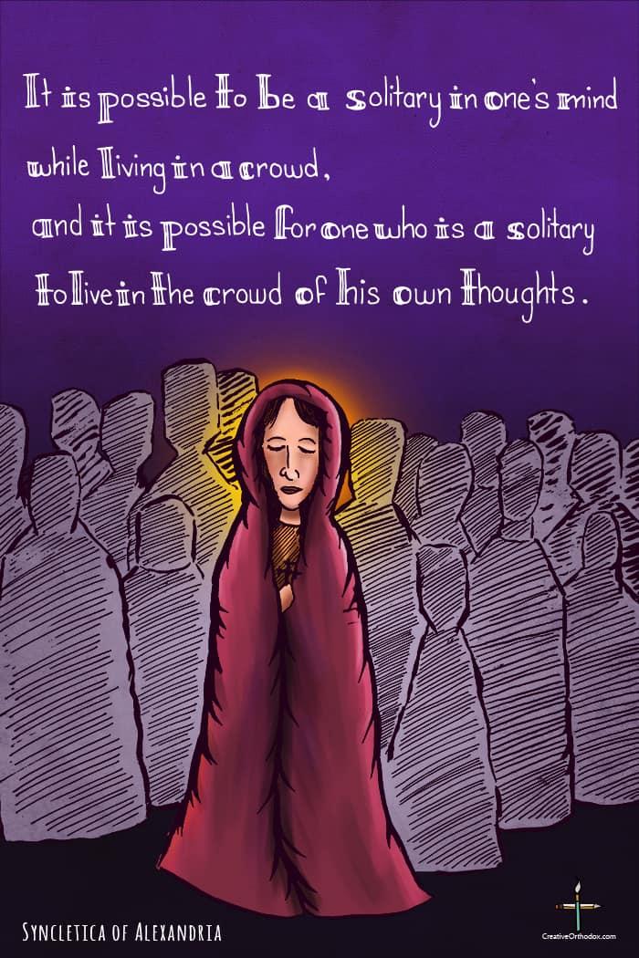 Illustration of desert mother Amma Syncletica
