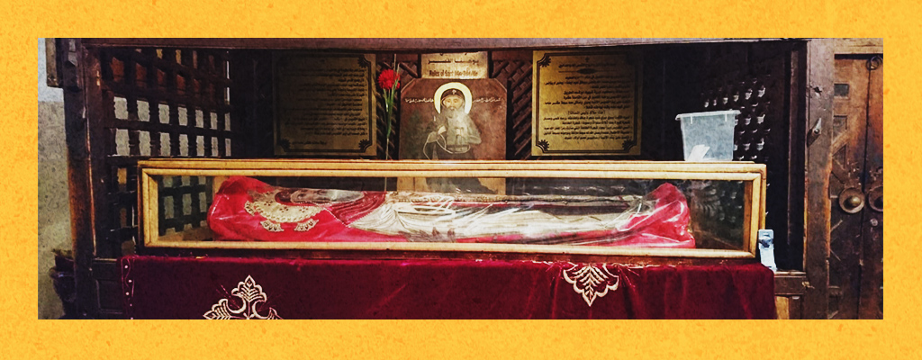 A photo of the relics of Saint John the Short at the Saint Macarius Monastery in the Egyptian Desert