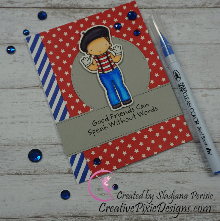 MFT Pure Innocence Be Mime stamp colored with Zig Clean Color Real Waterbrush pens and patterned paper handmade card.