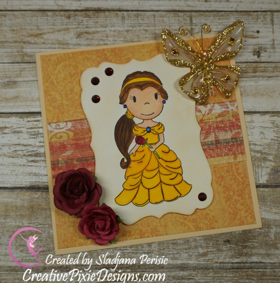Paper Nest Dolls Rose Princess handmade card colored using Spectrum Noir Markers.
