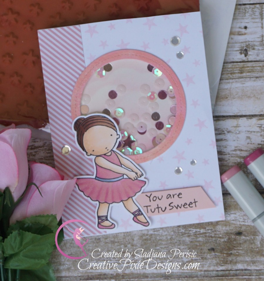 MFT Pure Innocence Tutu Cute stamp colored with Copic markers and patterned paper handmade card.