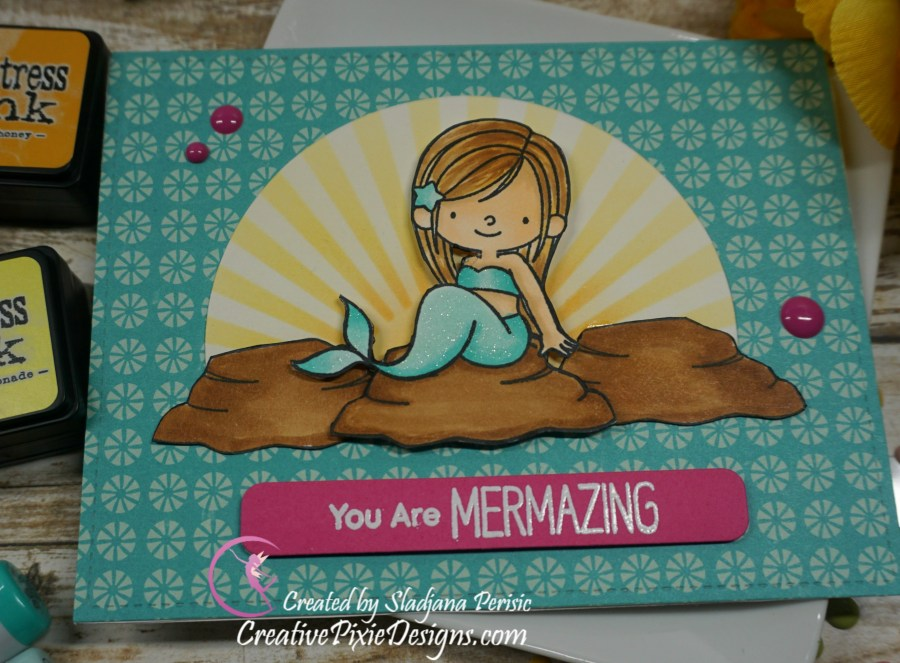 MFT Mermazing stamp colored with Copic markers and patterned paper handmade card.