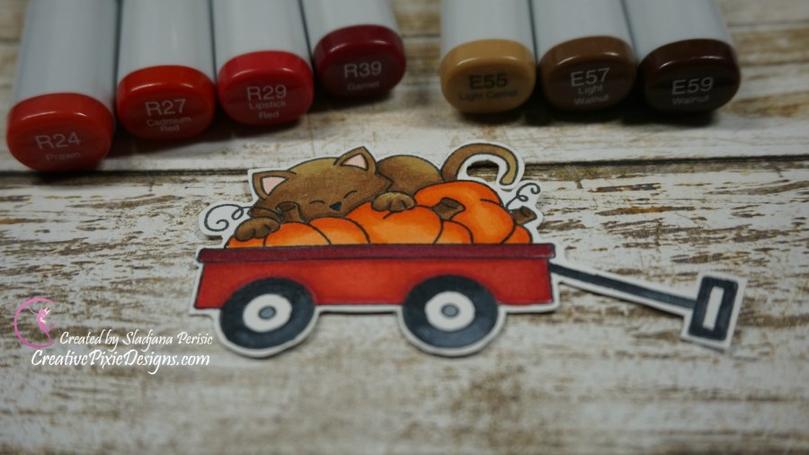 Newton's Nook Designs Fall-ing for you and Wagon of Wishes stamp set colored with Copic Markers and Distress ink scene background handmade fall inspired card.