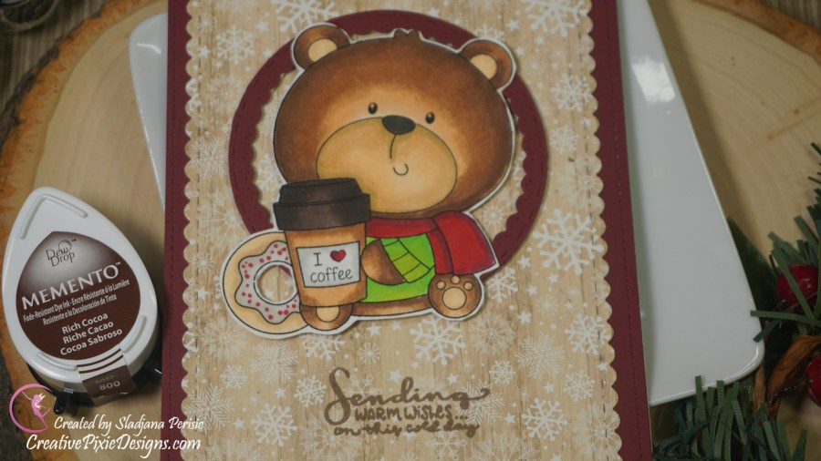 Craftin Desert Divas Coffee & Donut Bear Digi image colored with Copic Markers and pattered paper background handmade Christmas card.