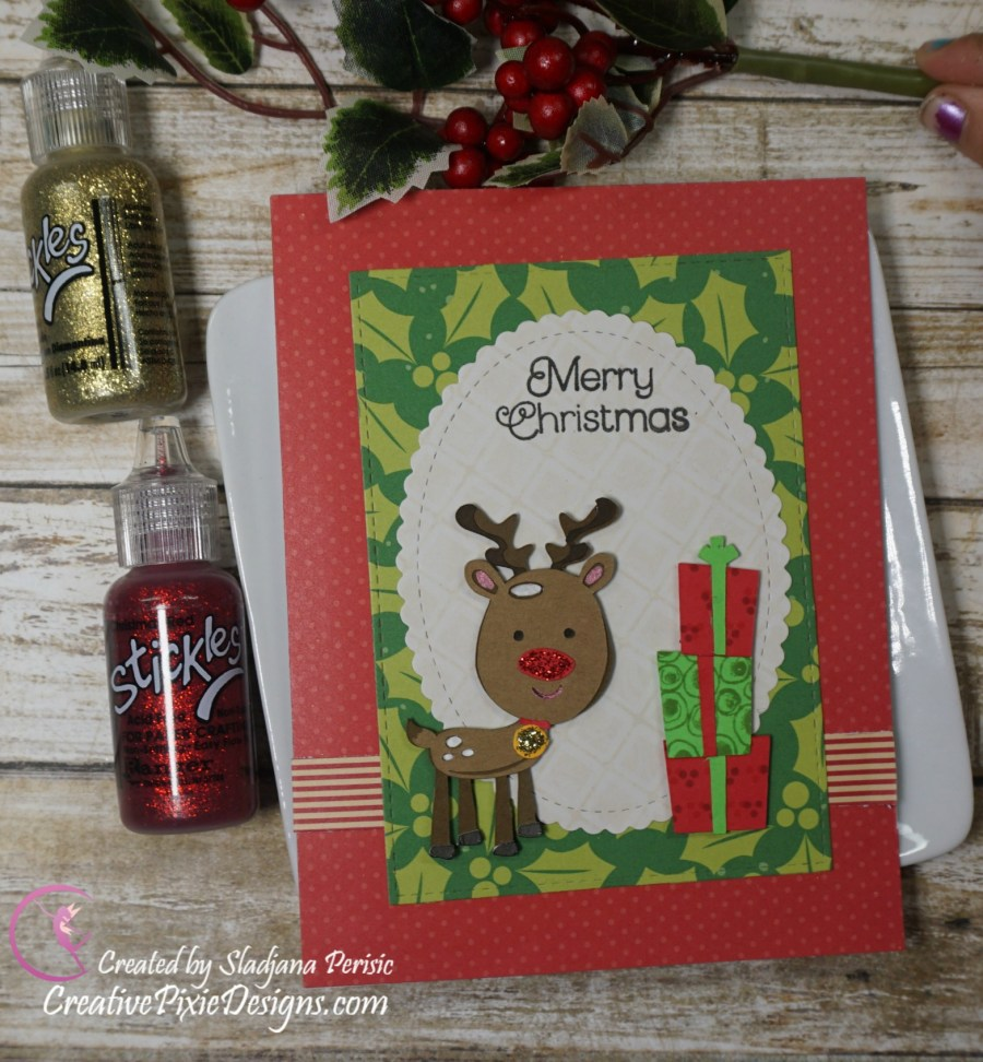 Cricut die cuts – Reindeer and presents SVG files from Miss Kate Cuttables - Christmas handmade card.