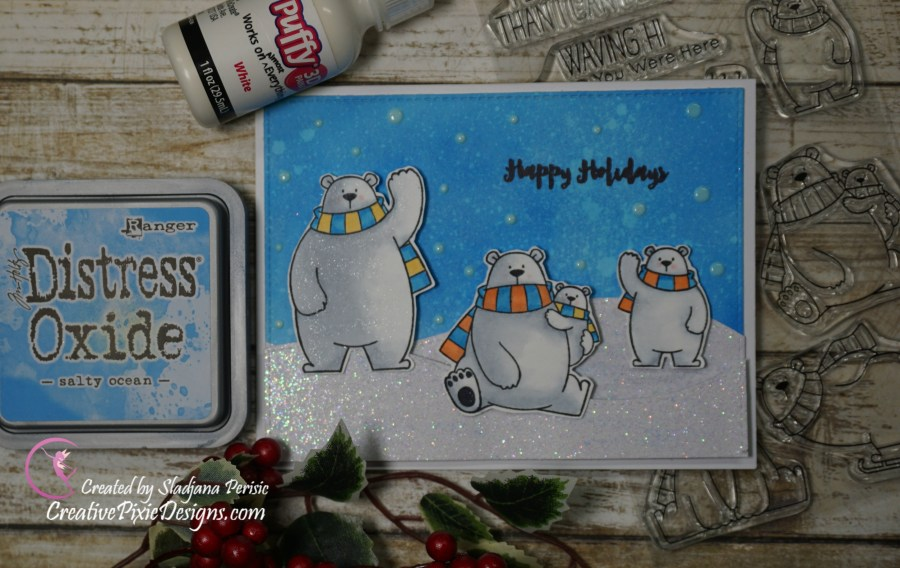 My Favorite Things Polar Bear Pals stamp set colored with Copic Markers and Distress Oxides ink backgrounds handmade Christmas card.