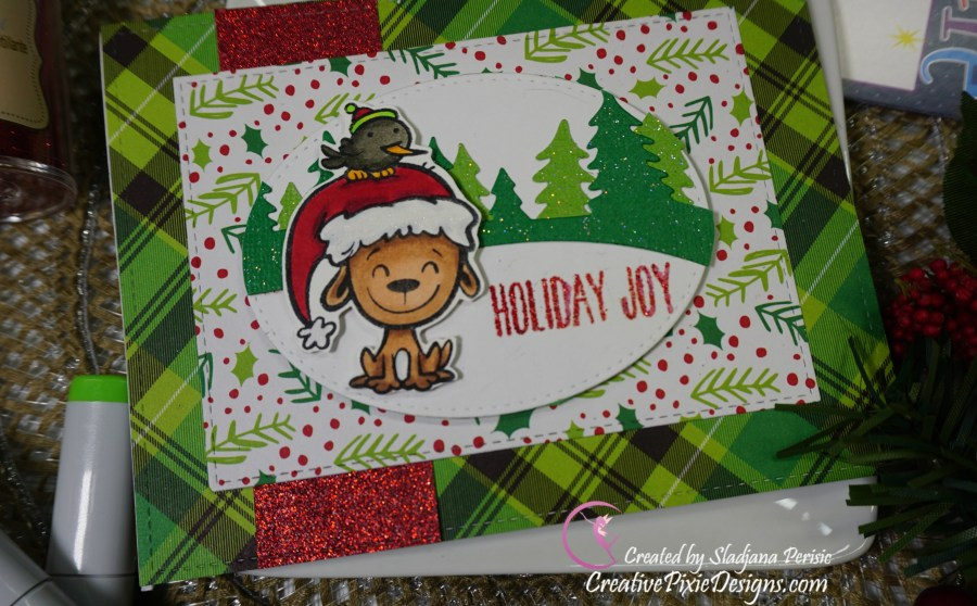 Your Next Stamp Holiday Buddies colored with Copic Markers and Christmas patterned paper background handmade Christmas card.