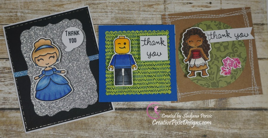 Kindred Stamps Polynesian Adventures, Glass Slipper Princess, and Build Blocks stamp set colored with Copic markers thank you handmade card.