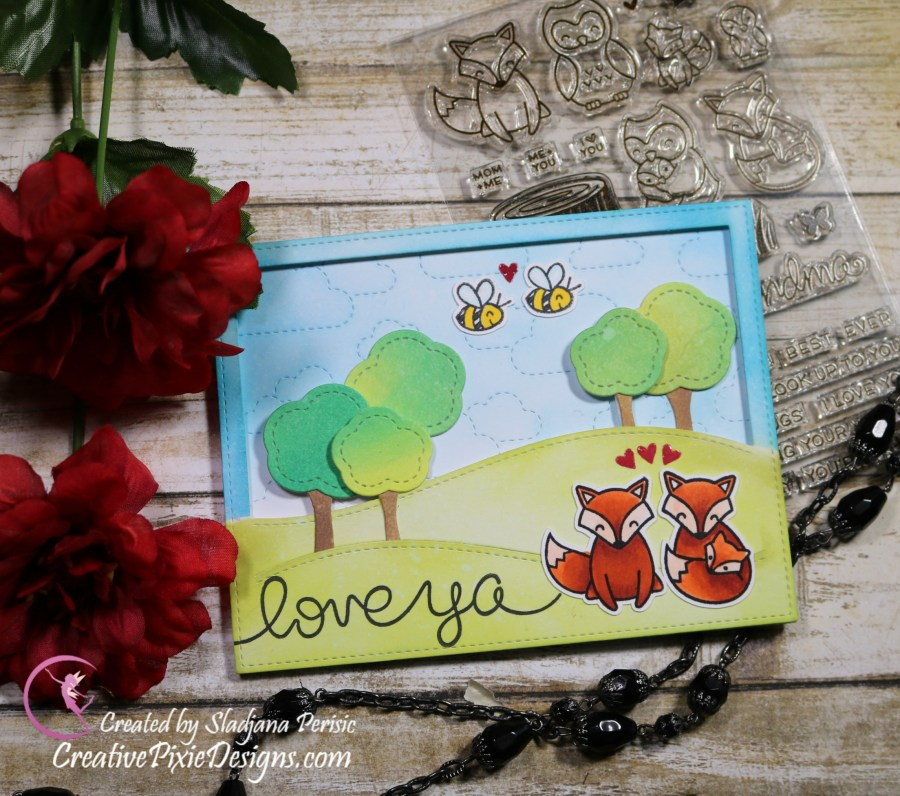 Lawn Fawn Mom + Me stamp set, Bee mine stamp set, stitched clouds backdrop, stitched clouds backdrop, big scripty words stamp set colored with Copic Markers and Distress ink backgrounds Valentine's Day handmade card.
