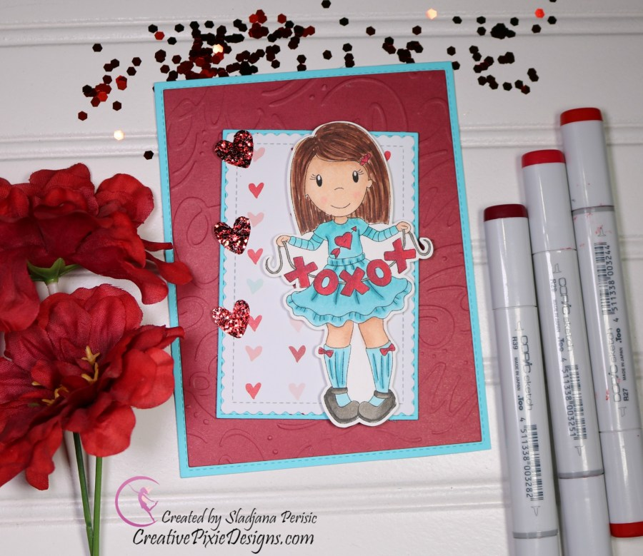 Paper Nest Dolls Hugs and Kisses Emma digital stamp colored with Copic Markers and patterned paper background Valentine's Day handmade card.
