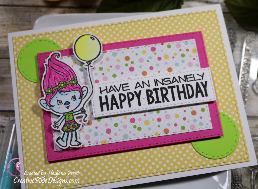 Your Next Stamp Insanely Happy colored with Zig Clean Color Real Brush Markers and patterned paper handmade birthday card.