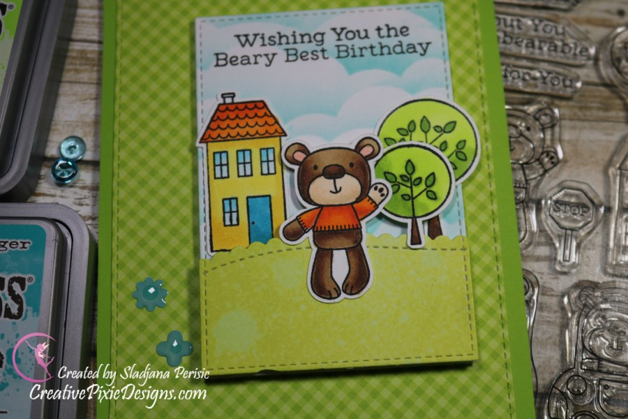 My Favorite Things Town Bear stamp colored with Copic Markers and Distress ink backgrounds Birthday handmade card.