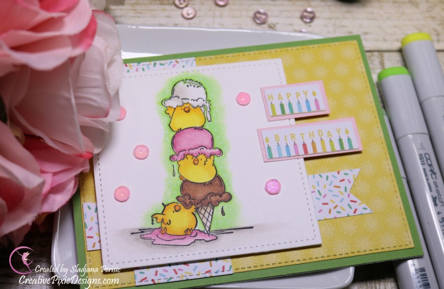 Scrapping For Less March FOTM Card Kit All about Ice Cream featuring Stamping Bella Chicks with Sprinkle on Top Stamp.