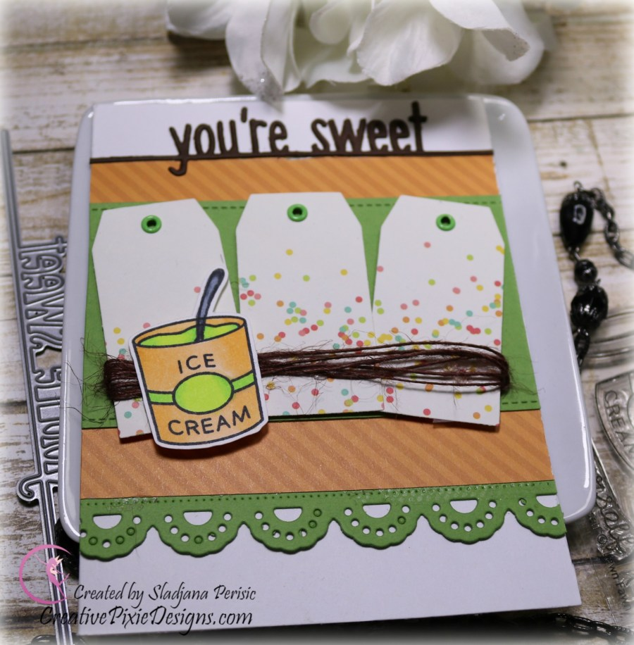 Scrapping For Less March FOTM Card Kit All about Ice Cream featuring Lawn Fawn Treat Yourself Stamp.
