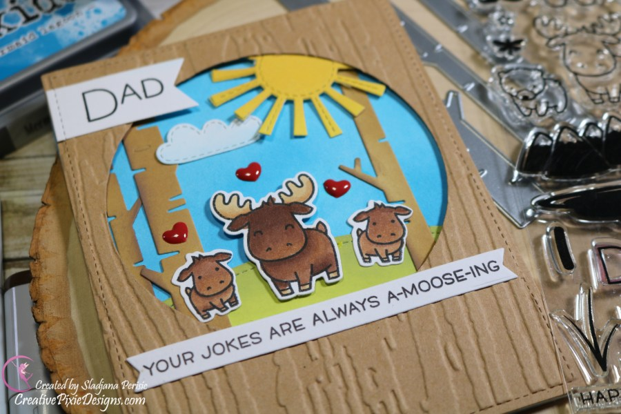 Lawn Fawn Dad+Me stamp colored with Copic Markers and Distress Oxide ink background Father's Day handmade card.
