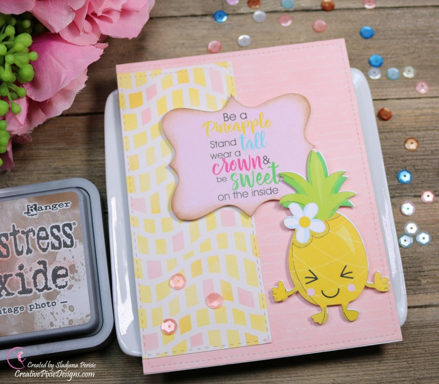 Scrapping For Less July 2018 FOTM Card Kit Birthday Wishes featuring Pineapple ephemera by Scrapping For Less and Escape to Paradise patterned paper by Bo Bunny.