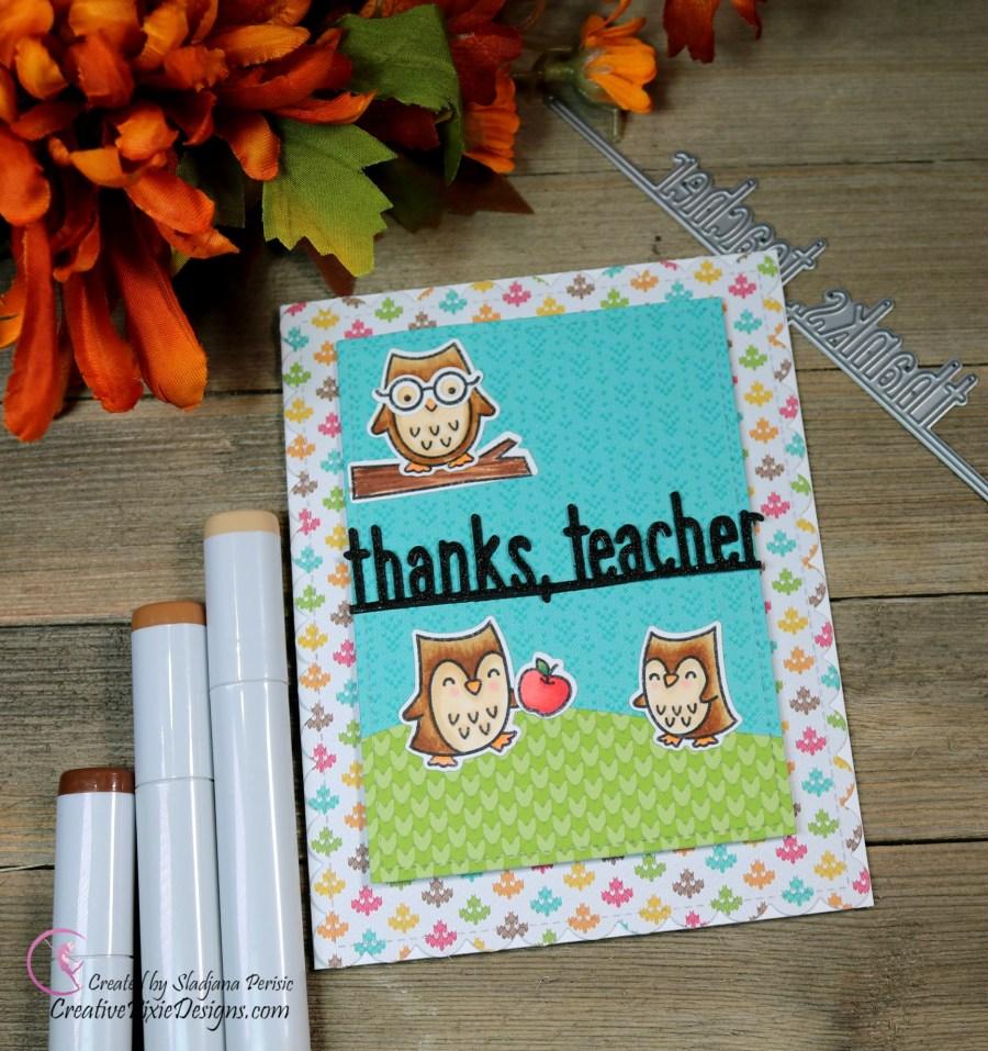 Lawn Fawn So Owlsome Stamp set, Thanks Teacher Line border die and Knit Picky Fall Collection Paper pad teacher card.