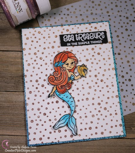 Simon Says Stamp September 2018 Card Kit called Sea Treasure featuring Beautiful Mermaids water-colored set against a glittery background created with stencils and Bo Bunny Glitter Paste.