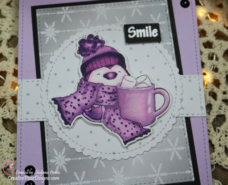 Scrapping For Less December 2018 FOTM Card Animals in the Arctic featuring from collection two: Penguin with a mug by Stamping Bella and Chill by Scrapping For Less patterned paper.