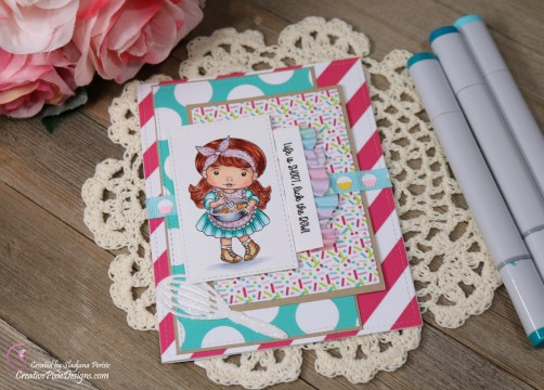 Scrapping For Less February 2019 Flavor of the Month Card Kit Whip it Up. Collection one: Baking Marci stamp by La La Land Crafts and Cupcake Cuties patterned paper by Scrapping For Less.