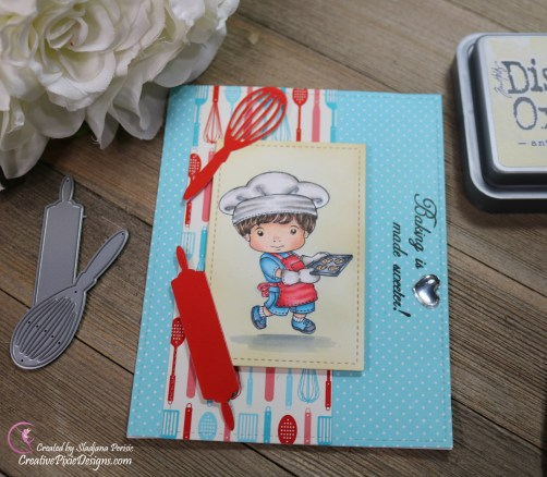 Scrapping For Less February 2019 Flavor of the Month Card Kit Whip it Up. Collection two: Baking Luka by La La Land Crafts and Baked with Love patterned paper by Scrapping For Less.