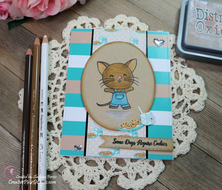Scrapping For Less February 2019 Flavor of the Month Card Kit Whip it Up. Collection four: Cookie Mouse stamp by Scrapping For Less and Cookies and Milk patterned paper by Scrapping For Less.