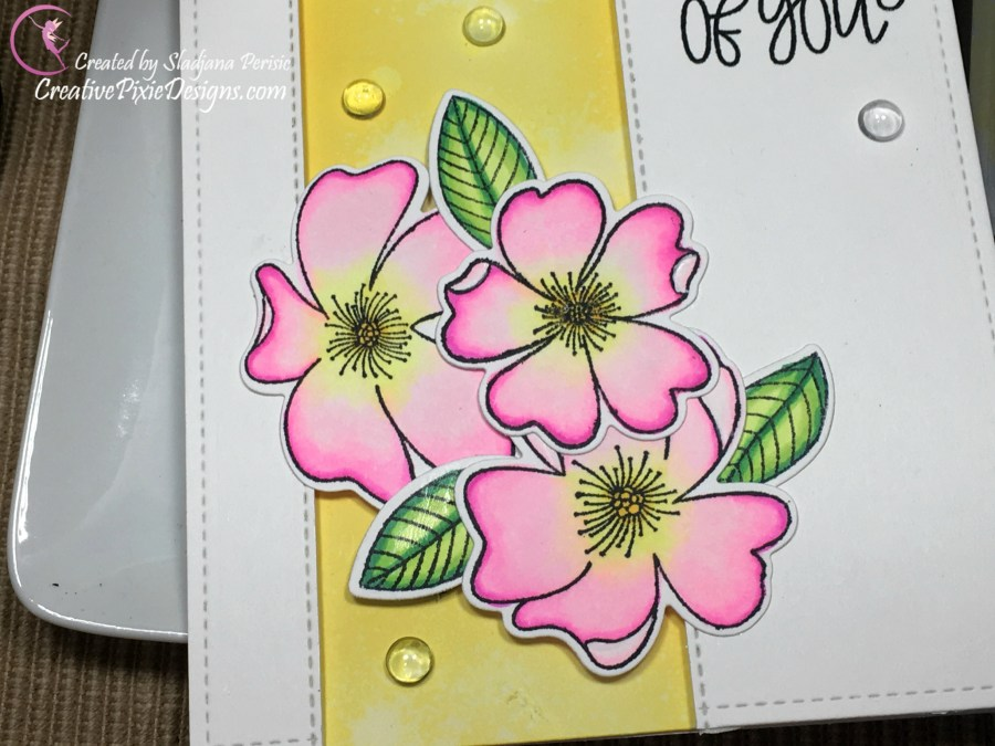 Pretty Pink Posh Wild Roses stamp combined with Distress Oxides Squeezed Lemonade and Wild Honey inlaid strip on a clean and simple card design.