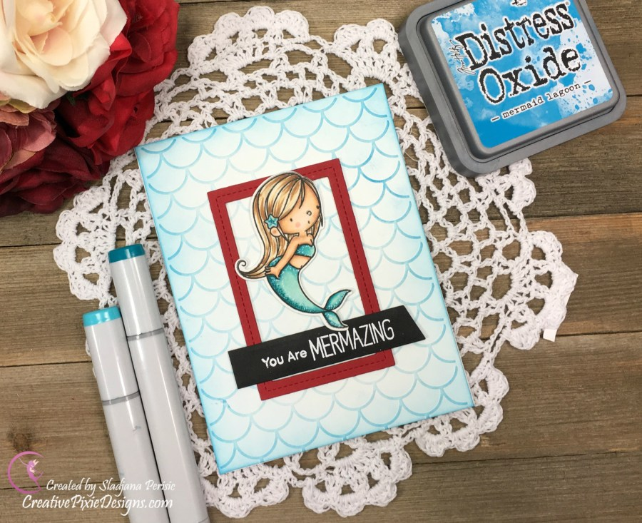 MFT BB Mermazing stamp colored with Copic Markers and combined with Mermaid Scales Embossing Folder by Echo Park.