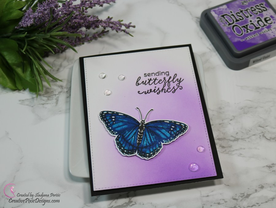 Hero Arts Color Layering Monarch Butterfly Stamp combined with ink blended background handmade card.