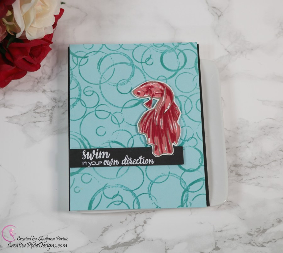 Hero Arts Color Layering Betta combined with a Hero Arts Ring Bold Prints Background Stamp handmade card.