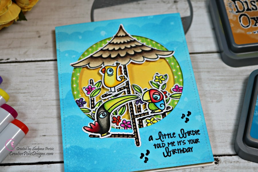 Avery Elle Tweet Tweet stamp combined with Avery Elle Starburst die and Copic colored images to create a birthday tunnel handmade card.