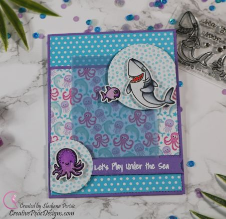 Scrapping For Less June 2019 Flavor of the Month Card Kit Under the Sea Babies. Collection two: Sea You Soon Stamp by Sunny Studio Stamps combined with Neon Sea Life patterned paper by Scrapping For Less handmade card.