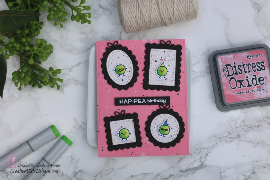 Lawn Fawn Be Hap-pea stamp combined with Lawn Fawn Mini Picture Frames dies set against Distress Oxide Worn Lipstick ink blended background birthday handmade card.
