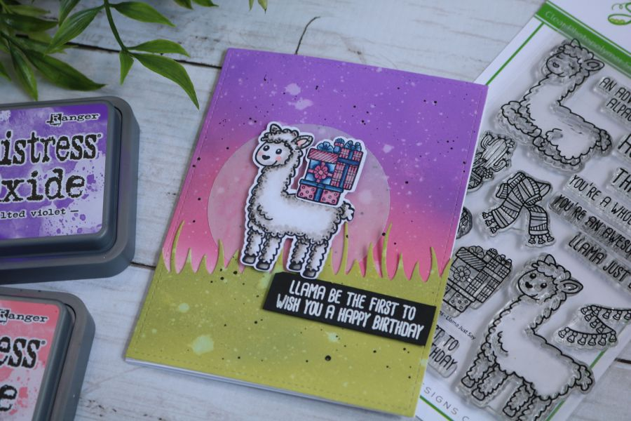 SugarPea Designs Llama Just Say stamp, Copic colored images set against an ink blended background following sketch guide, Birthday handmade card.