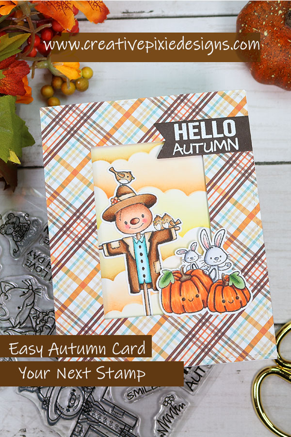 Your Next Stamp Autumn Harvest stamp images colored with Copic markers, autumn or fall-inspired handmade card.