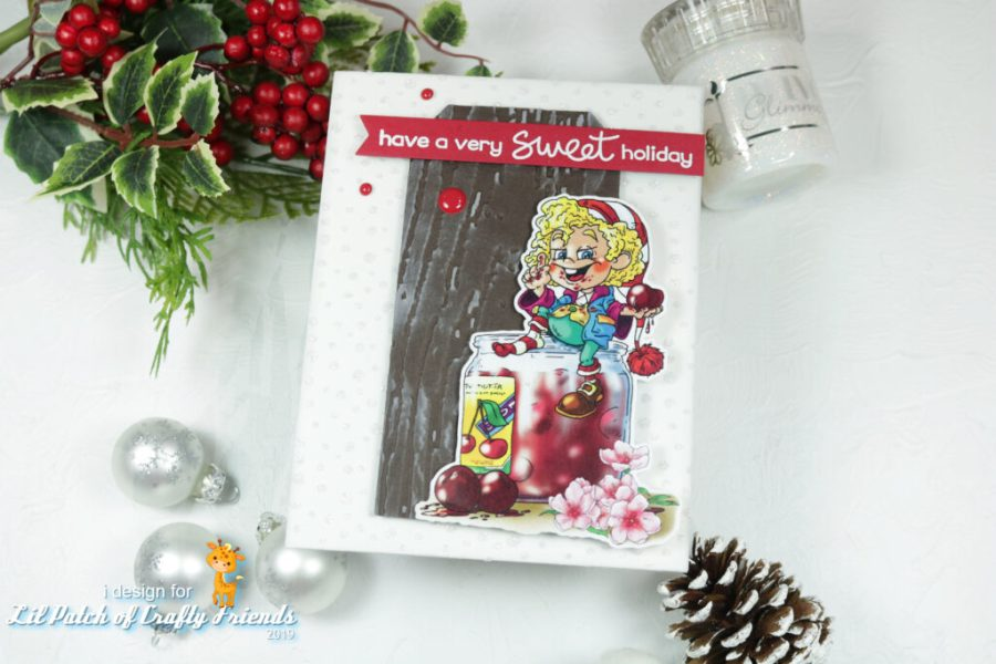 Fabrika Fantasy digital image of The Naughty Cherry Elf, Christmas handmade card.