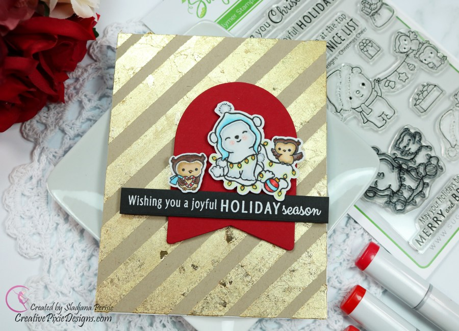 Sugar Pea Designs Christmas Cheer stamp set colored with Copic markers combined with Card Front Elements Builder II by Sugar Pea Designs and Nuvo Gilding Flakes in gold for a holiday inspired handmade card.