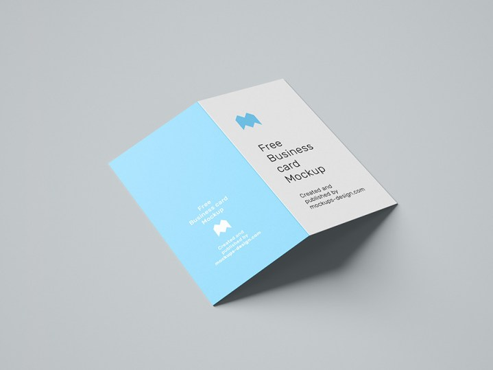 Free folded business card mockup
