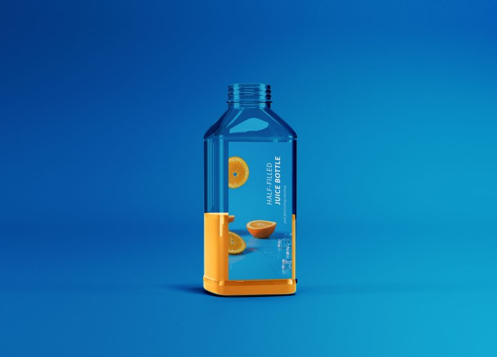 Half Filled Juice Bottle Mockup