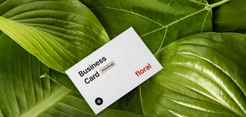 Free PSD business card floral Mockup