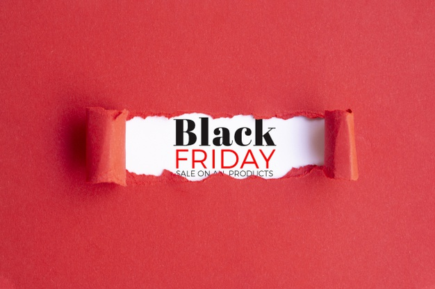 Black friday concept with red background Free Psd