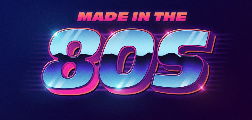 Free PSD 80s style text Mockup